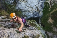 Rock climbing in Julian Alps in Slovenia.