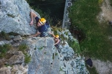 Rock climbing near Bled in Slovenia