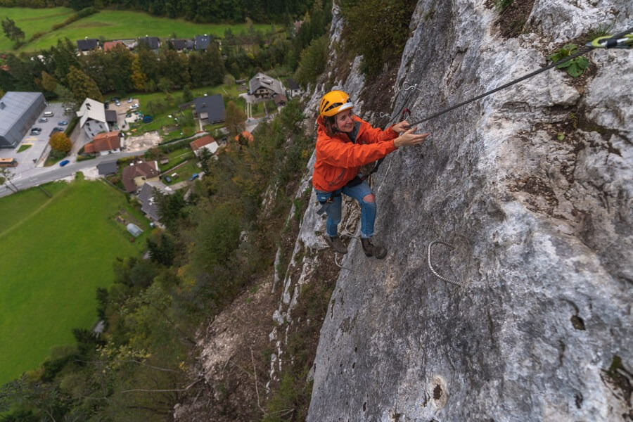 Via ferrata Grančišče climbing one hundred meters above the ground.