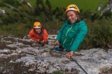 Via ferrata Mojstrana two girls climbing on Triglav fairytale route