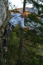 Via ferrata Mojstrana Slovenia, climbing up the ladder