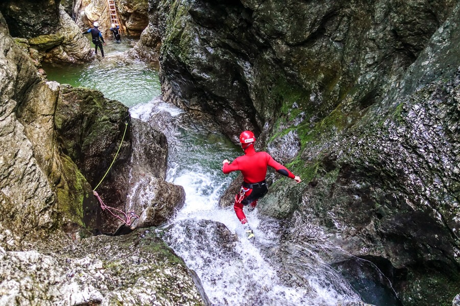 Inside of Amazing canyon in Slovenia
