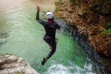 Amazing canyoning jumping near Triglav National Park