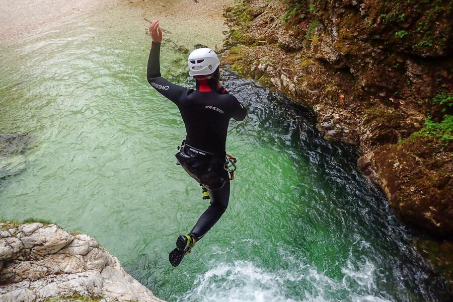 Amazing canyoning jumping near Triglav National Park