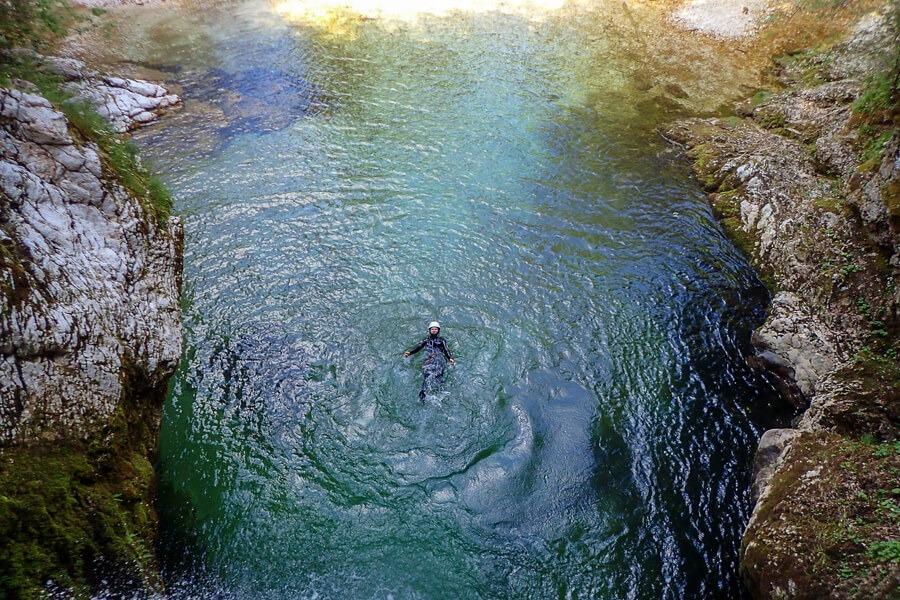Amazing canyoning swimming near Bled