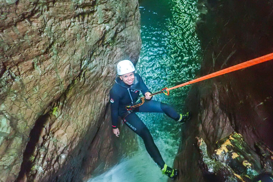 Ultimate canyoning Bovec waterfall