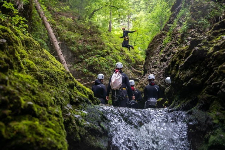 Canyoning Guide Jumping into the Pool, Bohinj Area