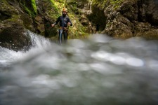 Guide Stepping into Deep Water, Canyoning in Bohinj Area