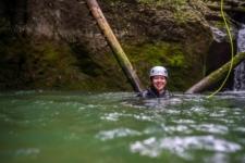 Happy Girl Swiming In Fresh Water, near Triglavski Narodni Park