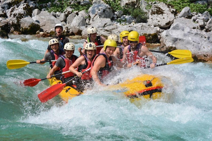 Caught in action rafting in Slovenia on Soca river.