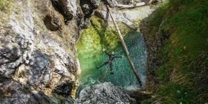 Extreme canyoning swiming in the water