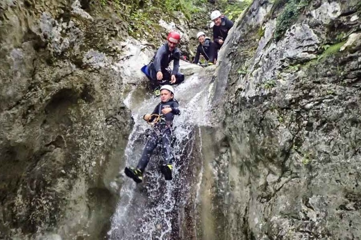 Canyoning near Bohinj Lake, enjoying time with family.