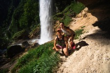 Happy Couple at Pericnik Waterfall Slovenia