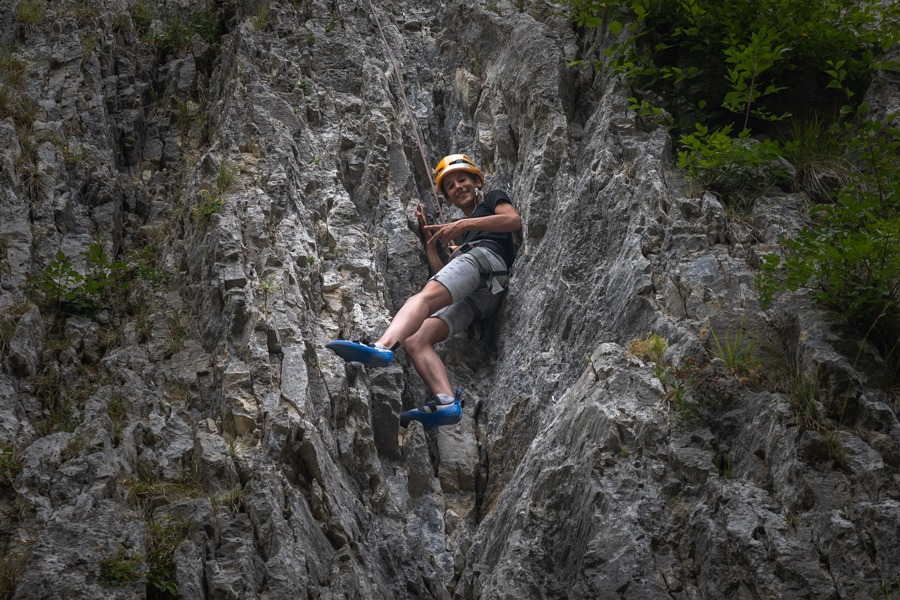 Kid rock climb near Lake Bled