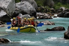 Schoolers doing Rafting on the RIver in Soca Valey