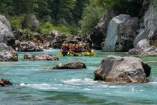 Slaloming while Doing Rafting on Soca River