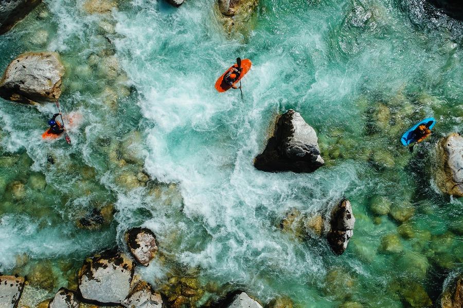 Slovenia kayaking on Soča river