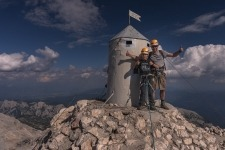Aljaž tower standing on the highest mountain of Slovenia