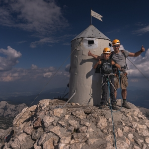 Aljaž tower standing on the highest mountain of Slovenia