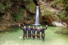 Amazing canyoning happy people at the end off canyon