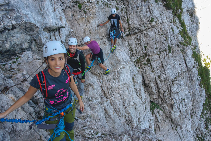 Drop in the middle of Via ferrata Slovenia in Mala Mojstrovka