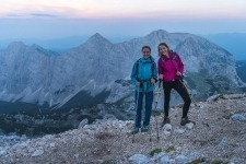 Early climb on Triglav, girls smiling