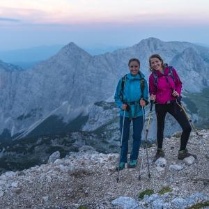 Early climb on Triglav, girls smiling