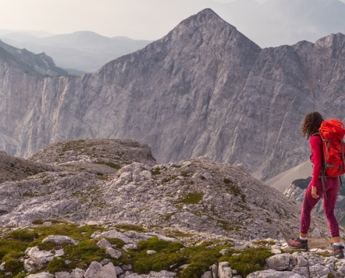 Hiking in Triglav National Park while having an amazing view