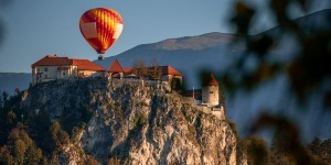 Hot Air Balloon in Lake Bled