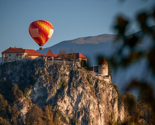 Hot Air Balloon in Lake Bled