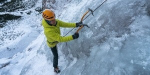 Ice climbing on top rope in Julian Alps