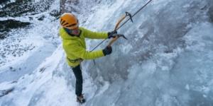 Ice climbing on top rope in Julian Alps