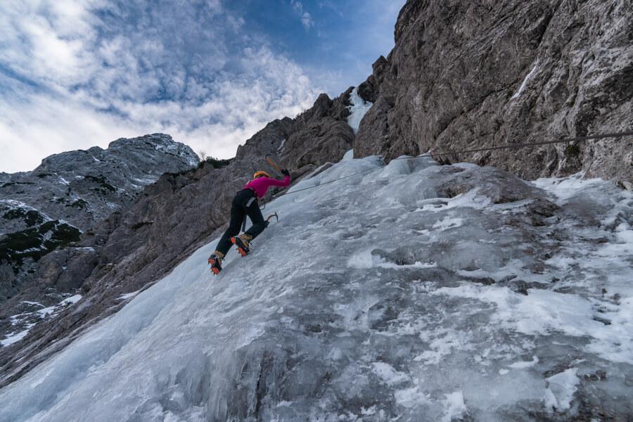 Ice climbing with amazing scenery
