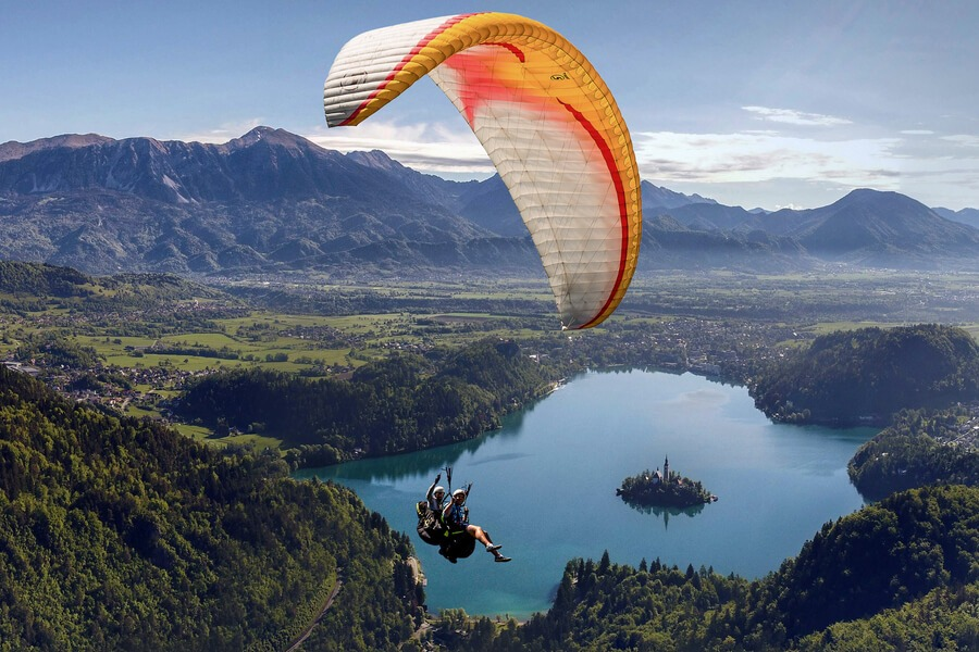 Paragliding Lake Bled from a bird view