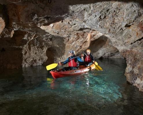 Underground kayaking experience