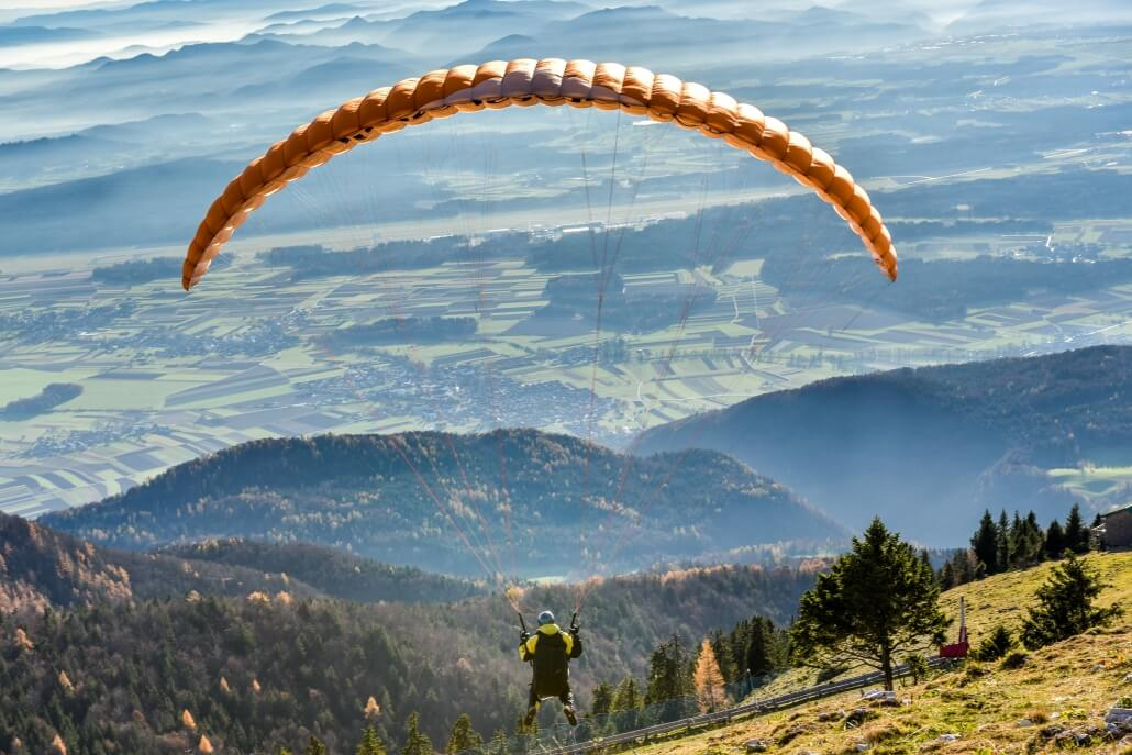 Paragliding from altitude 1450m near Lake Bled.