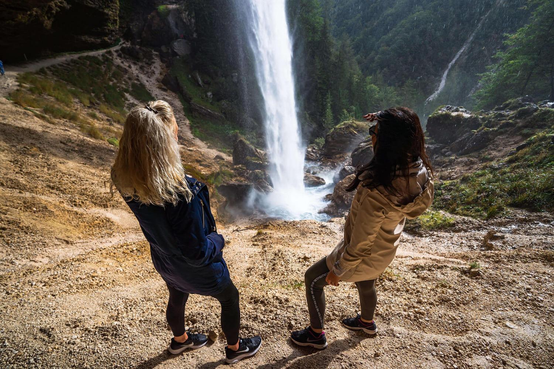 Girls watching Pericnik waterfall