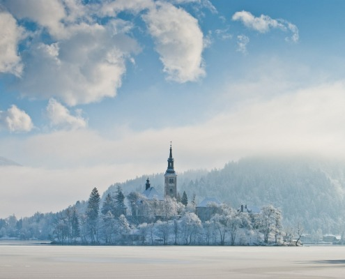 Lake Bled in winter, SloveniA