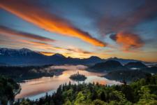 Sunrise above Lake Bled