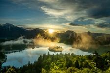 Sunrise from Ojstrica peek above Lake Bled