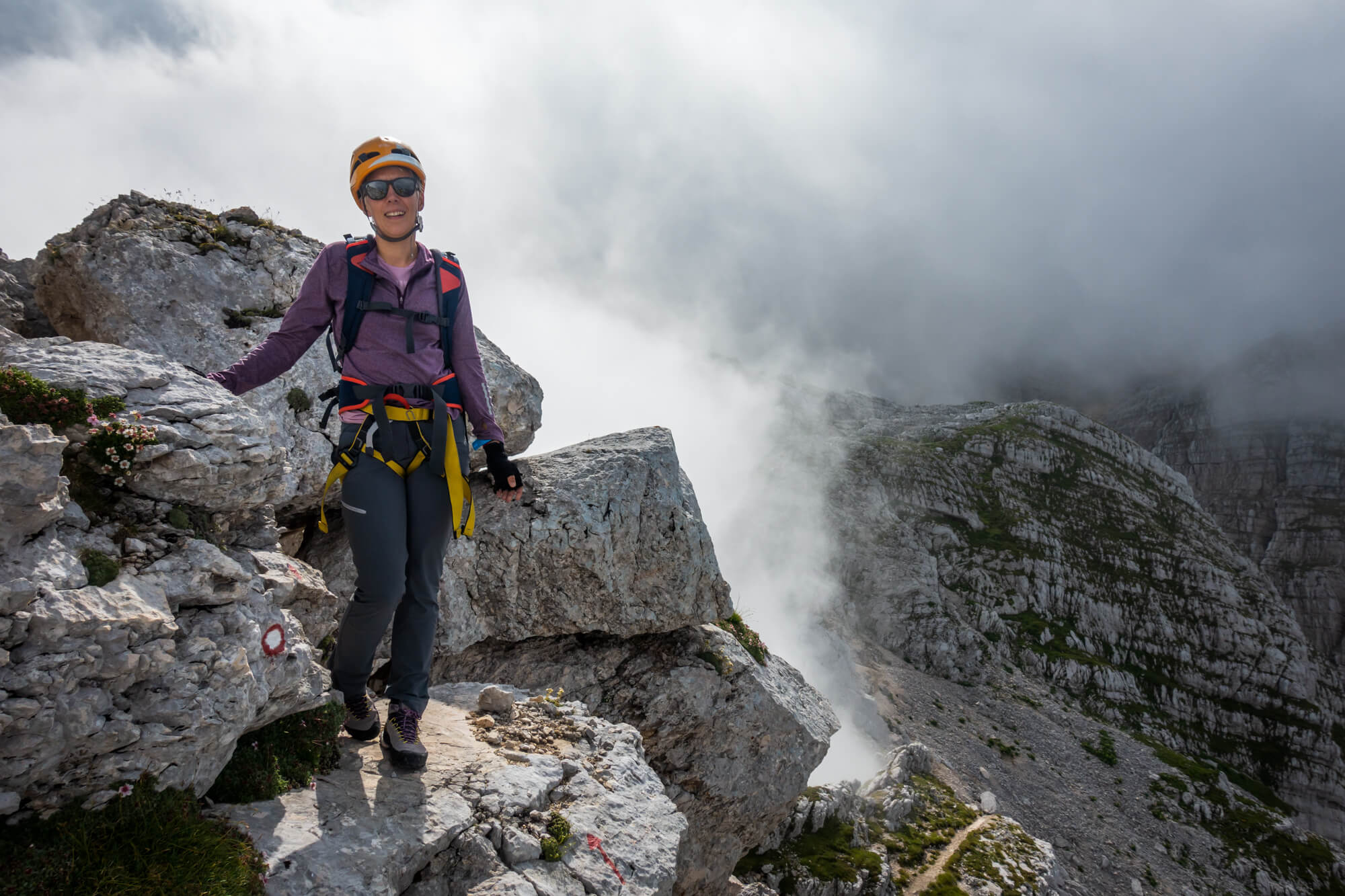 Female Hiker on Plemenice Trail From Zadnjica Valley