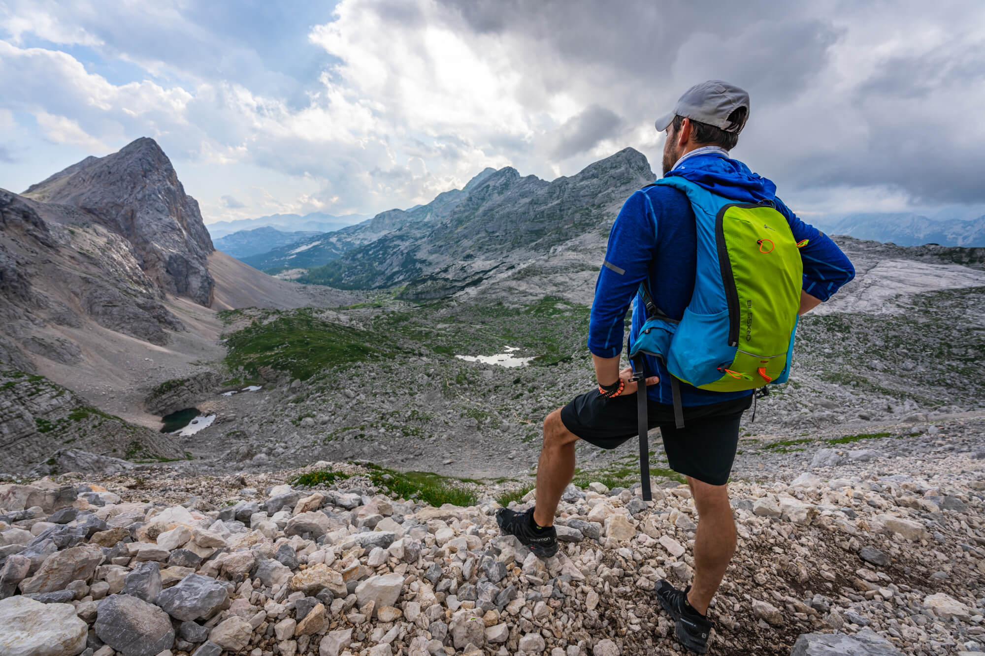 Hiker above Triglav Seven Lakes Valley