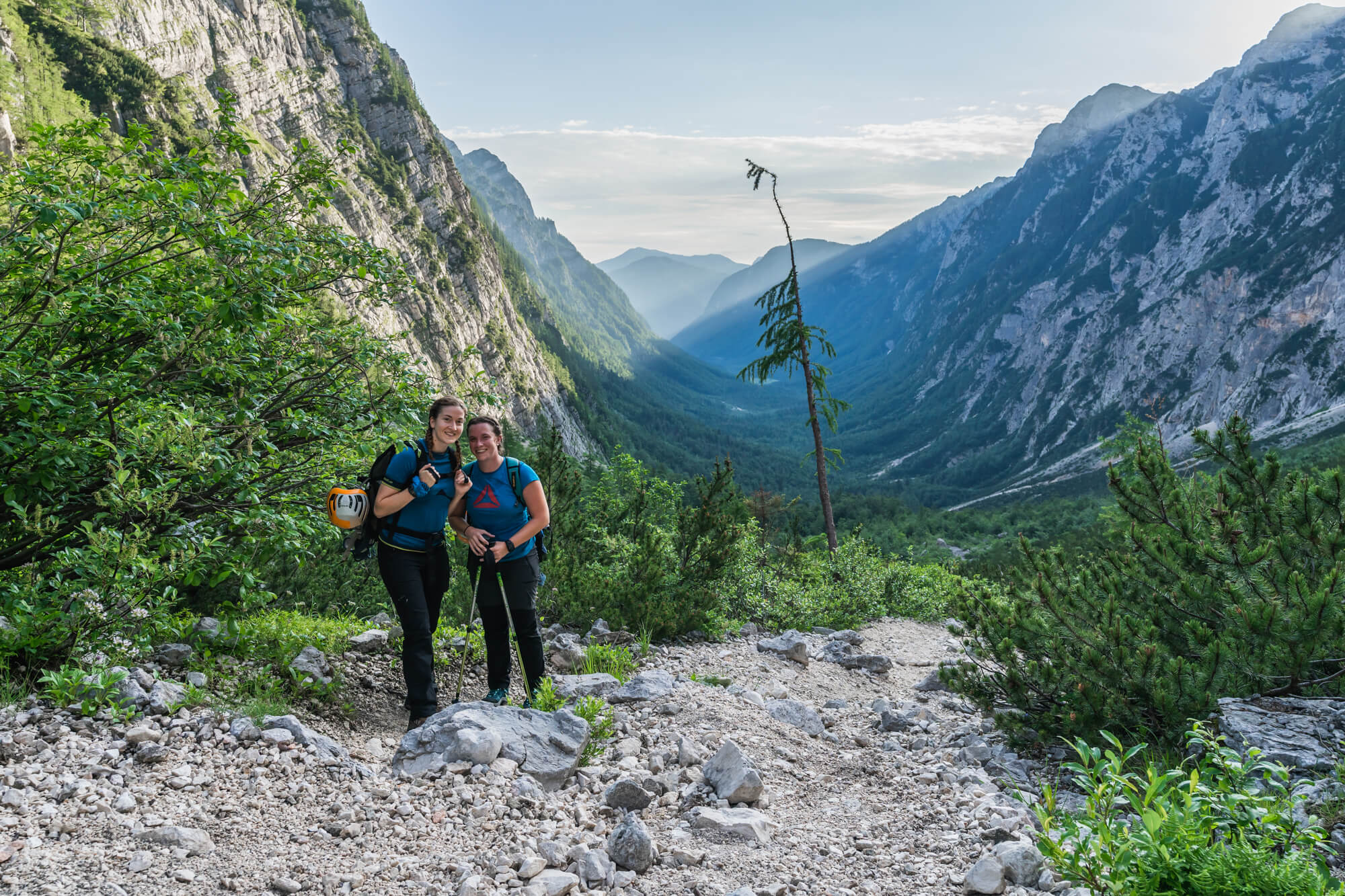 Young Female Hikers Hiking in Krma Valley